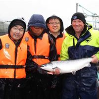 A wet day at Gorsten salmon farm