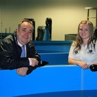 Alex Salmond MSP First Minister of Scotland and hatchery technician Jennifer Colston