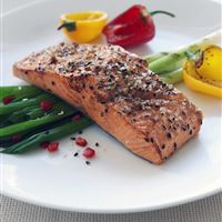 Salmon with baby leeks and roast peppers