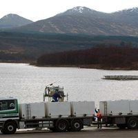 Salmon smolts being moved from Loch Garry to sea water farms
