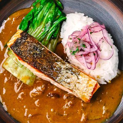 Katsu salmon with choy sum