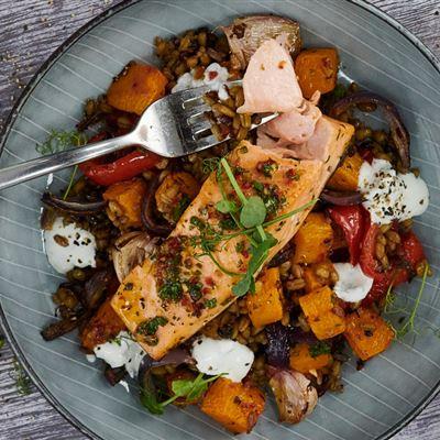 Piri Piri salmon with roasted vegetables