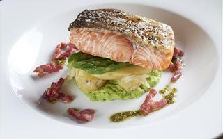 Roast Scottish Salmon with spicy broth