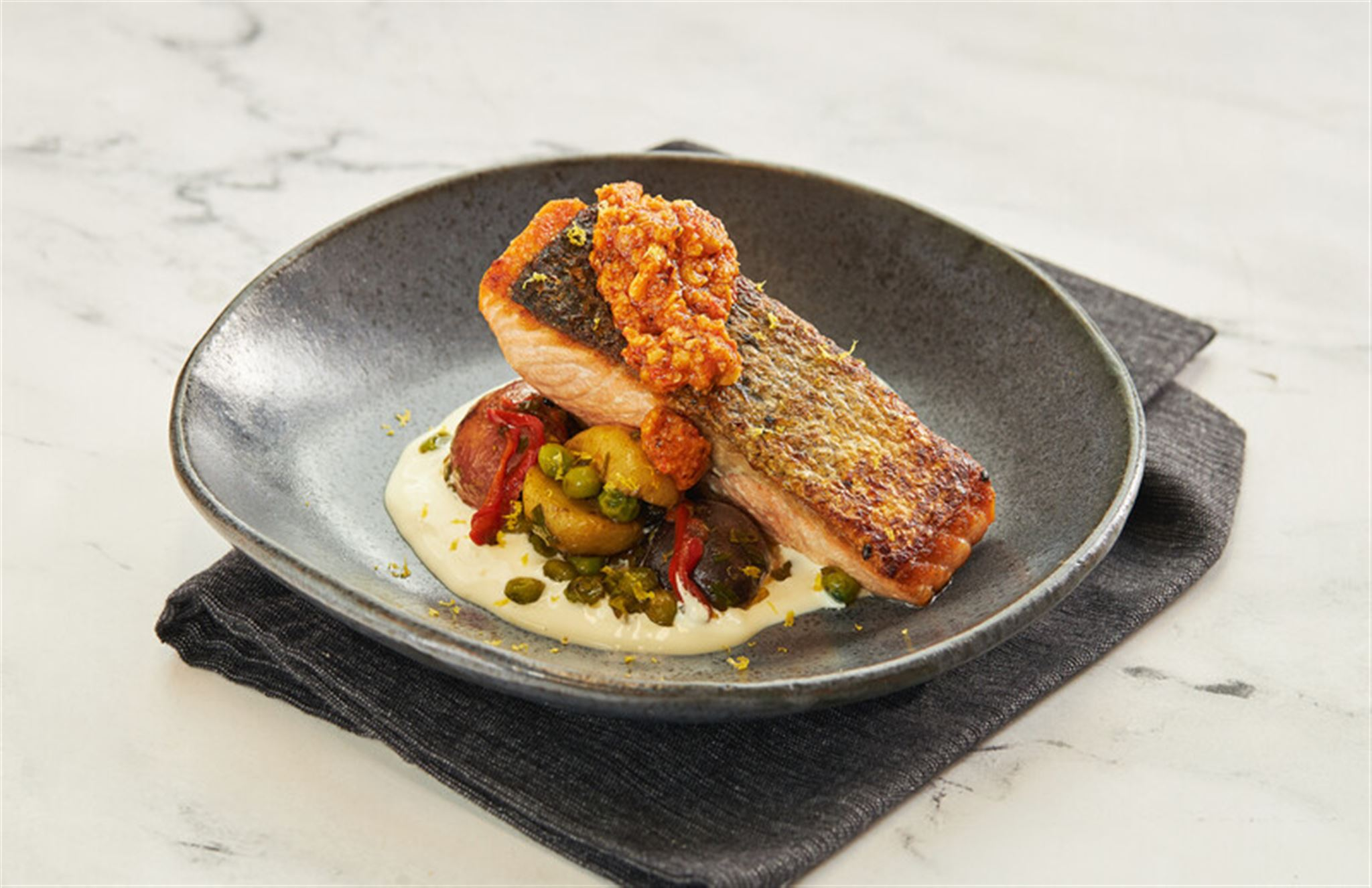 Royal Salmon with Romesco Sauce & Aioli