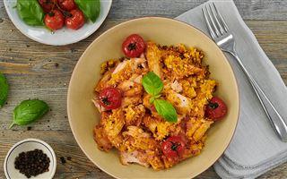 Salmon and tomato pasta bake