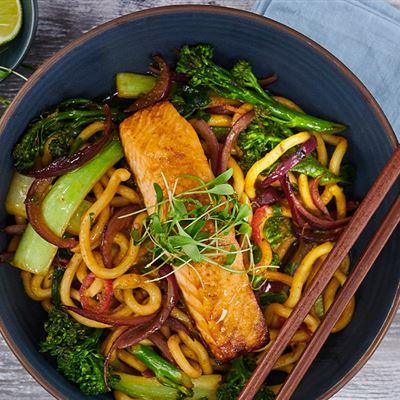 Salmon udon noodle stir fry