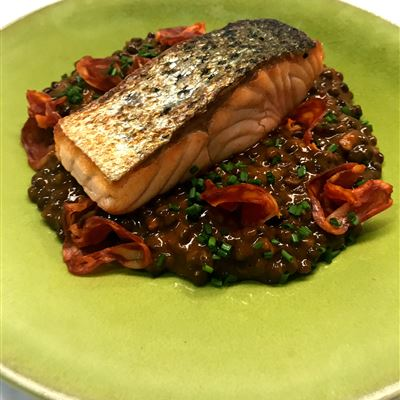 Salmon with chorizo and lentil stew