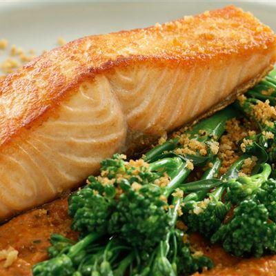 Salmon with Romesco sauce & pan grattato