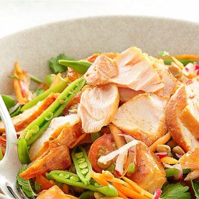 Thai Lentil salad and Piri Piri salmon