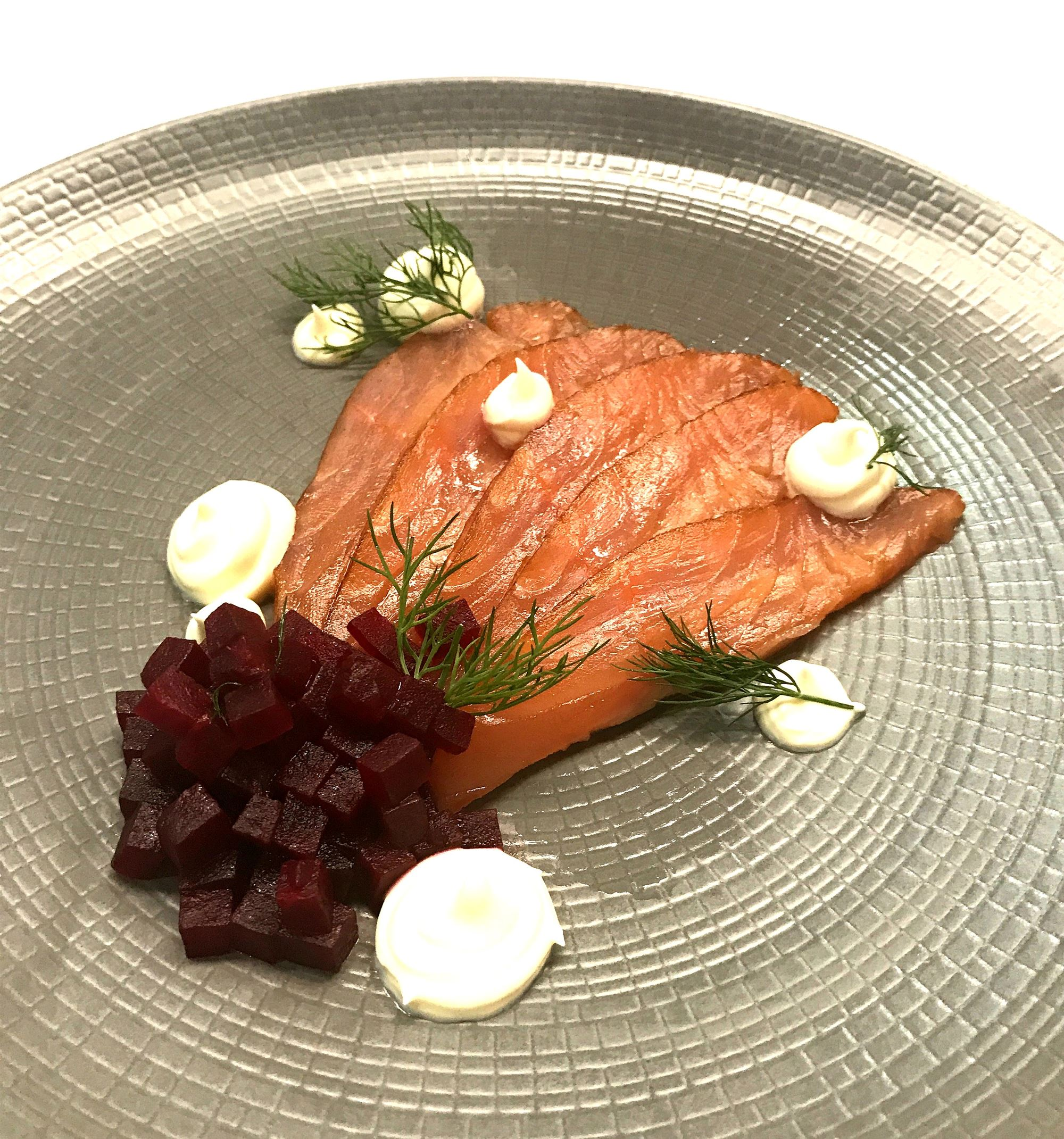 Whisky Cured Salmon and beetroot salad